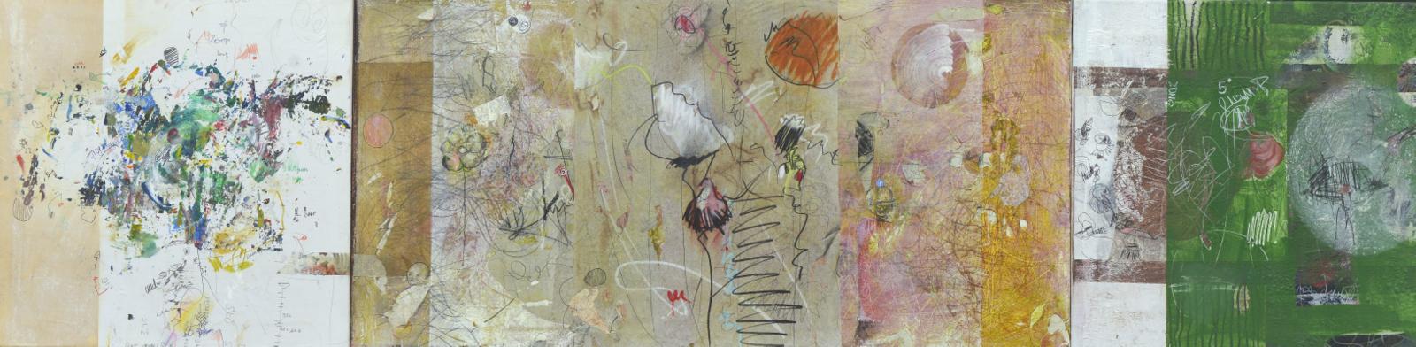 "Rike Stausberg / ""Storyboard"" / Malerei, Collage / 50 x 200 cm / 2015"