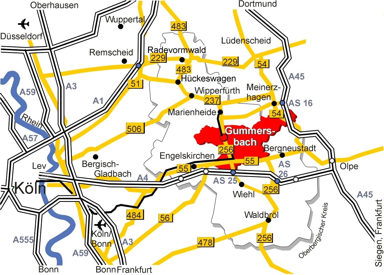 Lageplan Oberbergischer Kreis Gummersbach