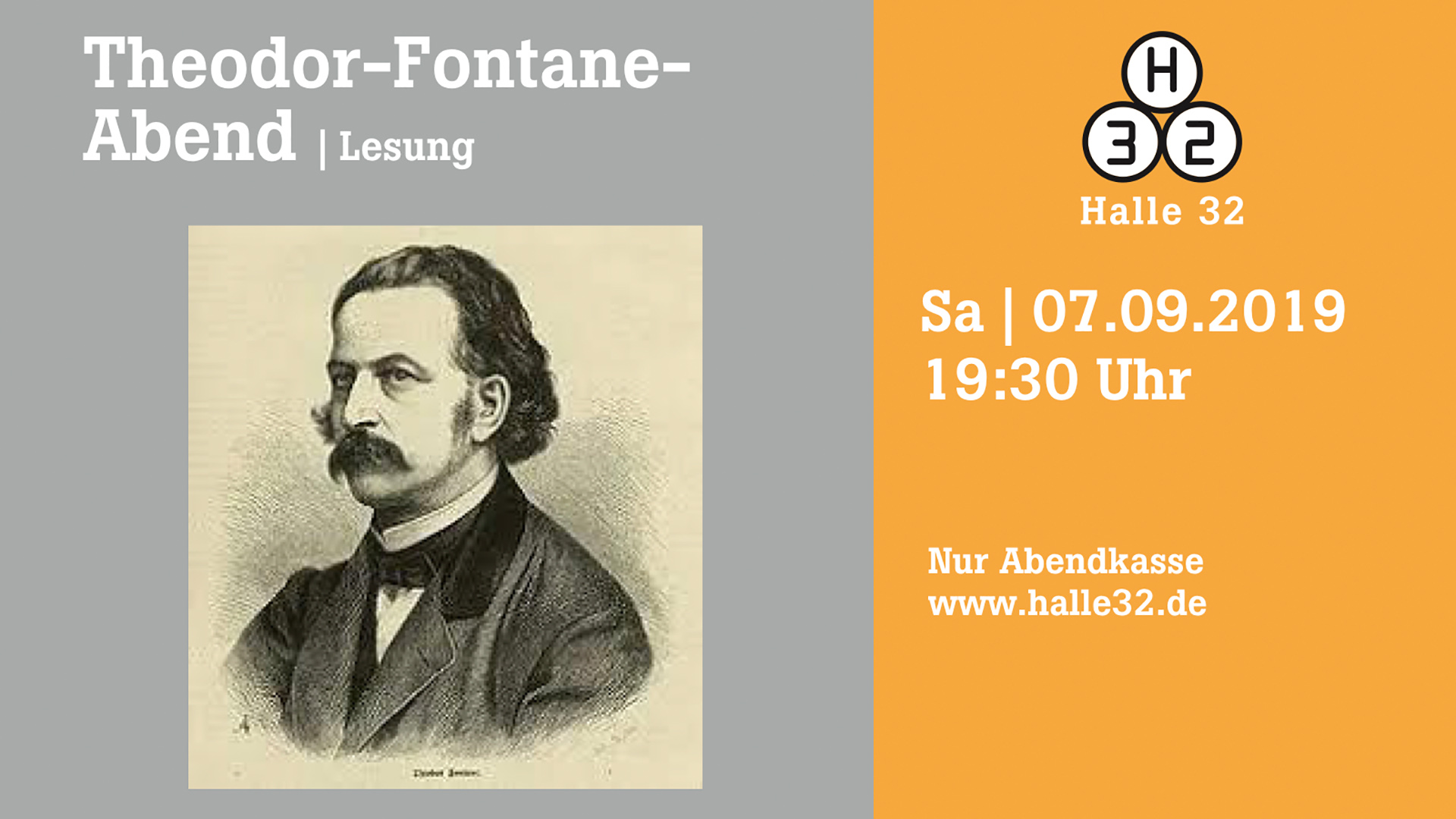 Halle 32 | Theodor-Fontane-Abend / Lesung