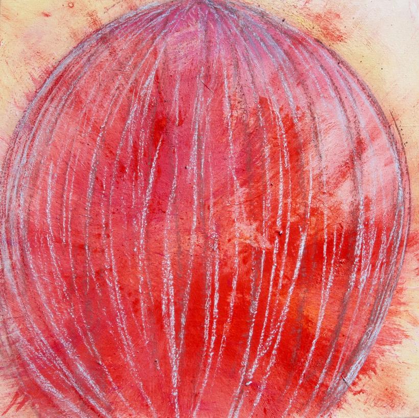 Ute Campo, Rote Frucht, Acryl und Pastellkreide auf Leinwand, 60x60cm