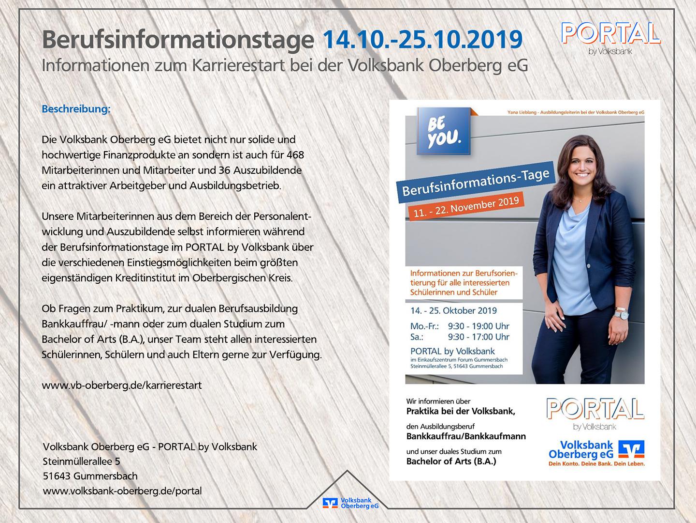 PORTAL by Volksbank | Berufsinformationstage